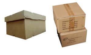 Cardboard boxes, different sizes.