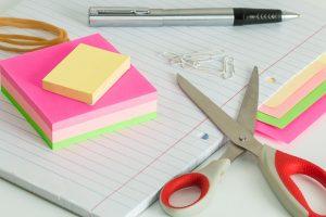 Stickers, pen and scissors.