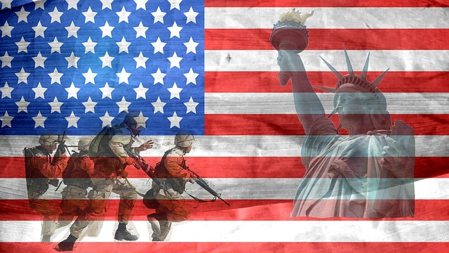 American soldiers and the USA flag.