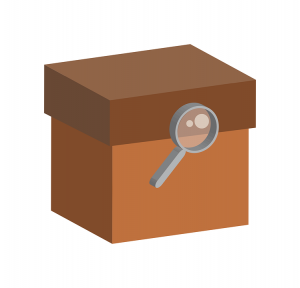 A box and a magnifying glass