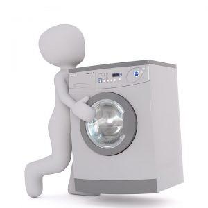 A person lifting a washing machine