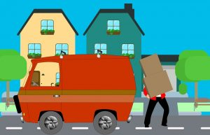 An illustration of a man trying to load cardboard boxes onto a moving vehicle.