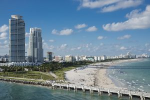 City view in Miami, which is on the list of the cities in Florida with the best climate.