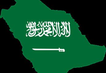 Saudi Arabia map and a flag.