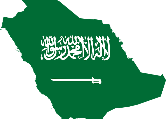 Saudi Arabia map and a flag.