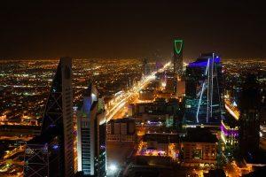 A view of Riyadh at night.