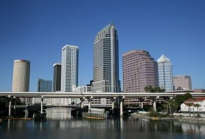 The downtown Tampa skyline during the day.