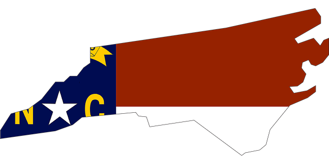A map and flag of NC.