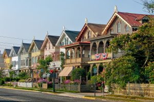 Houses in Cape May, one of the most beautiful quiet towns in NJ.