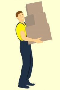 A drawing of a man carrying boxes.