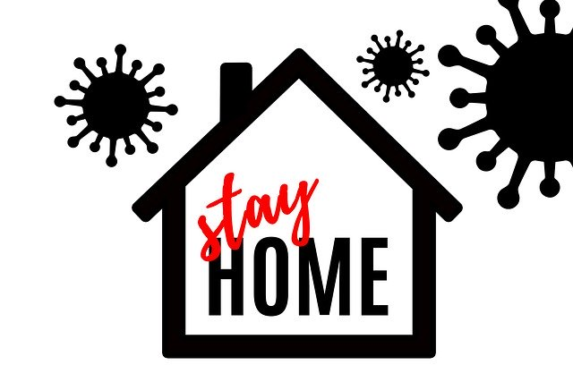 A graphic of a home - Stay home written inside