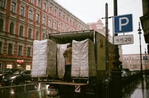 Back of the truck being loaded for a long-distance move