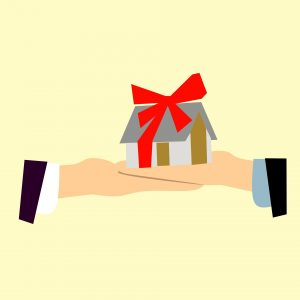 An illustration of two people exchanging a home as a present.