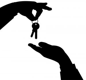 An illustration of a person handing pver the keys when finding your dream home in Bradenton comes to its end.