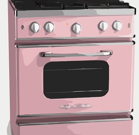 A pink stove.