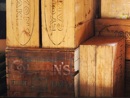 Wooden boxes with labels