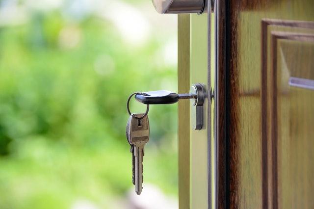 A key in a door lock.