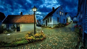 Small houses in the dusk
