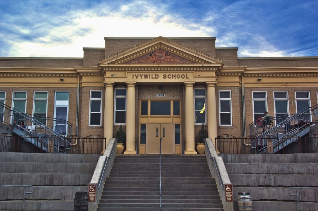 A school in Colorado Springs. This city is also one of the places in home buyers' guide to Colorado.